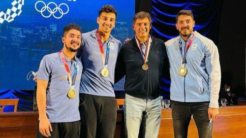 Los cuatro medallistas sanjuaninos y una foto que pasará a la inmortalidad